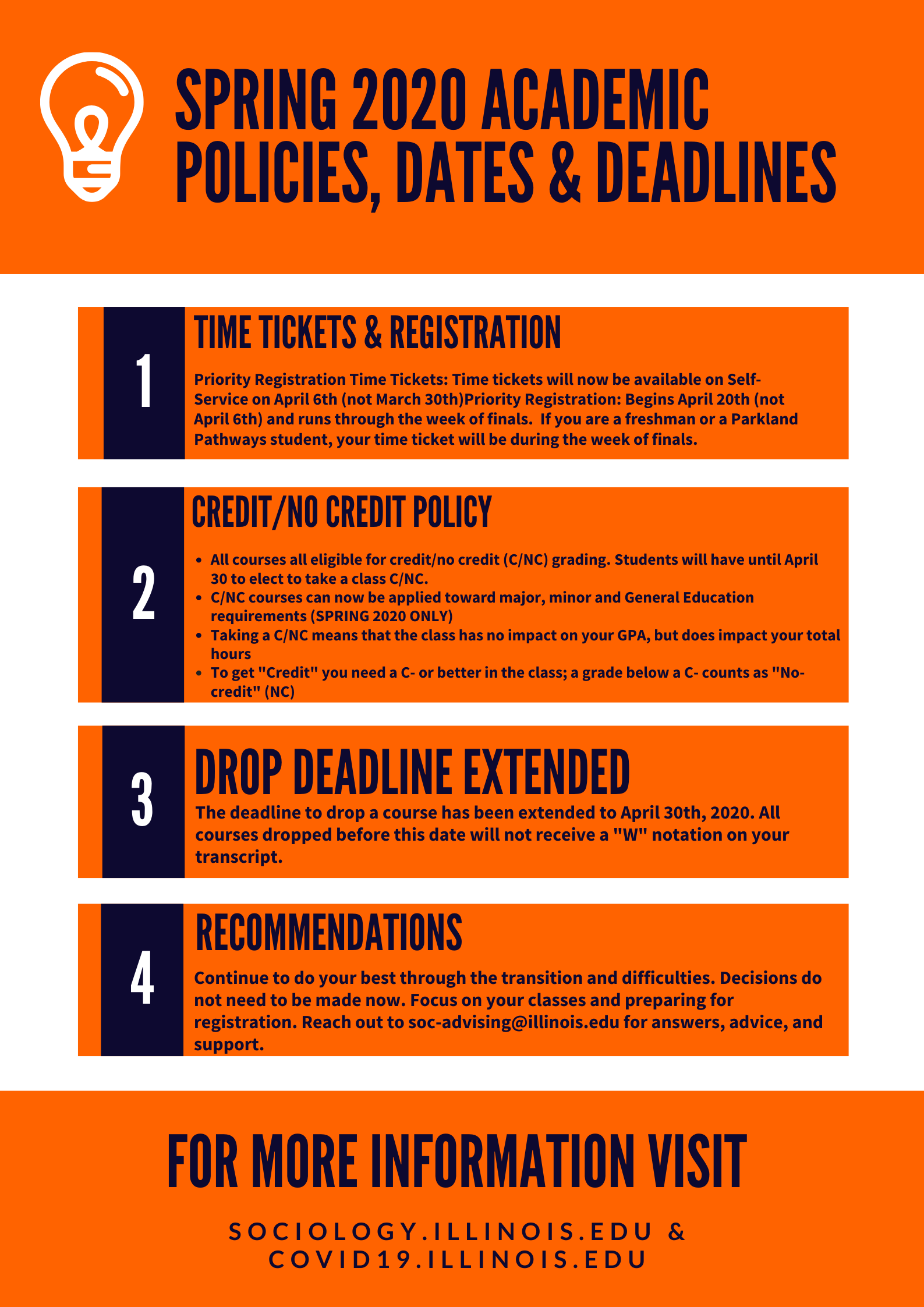 Spring 2020 Academic Policies Flyer