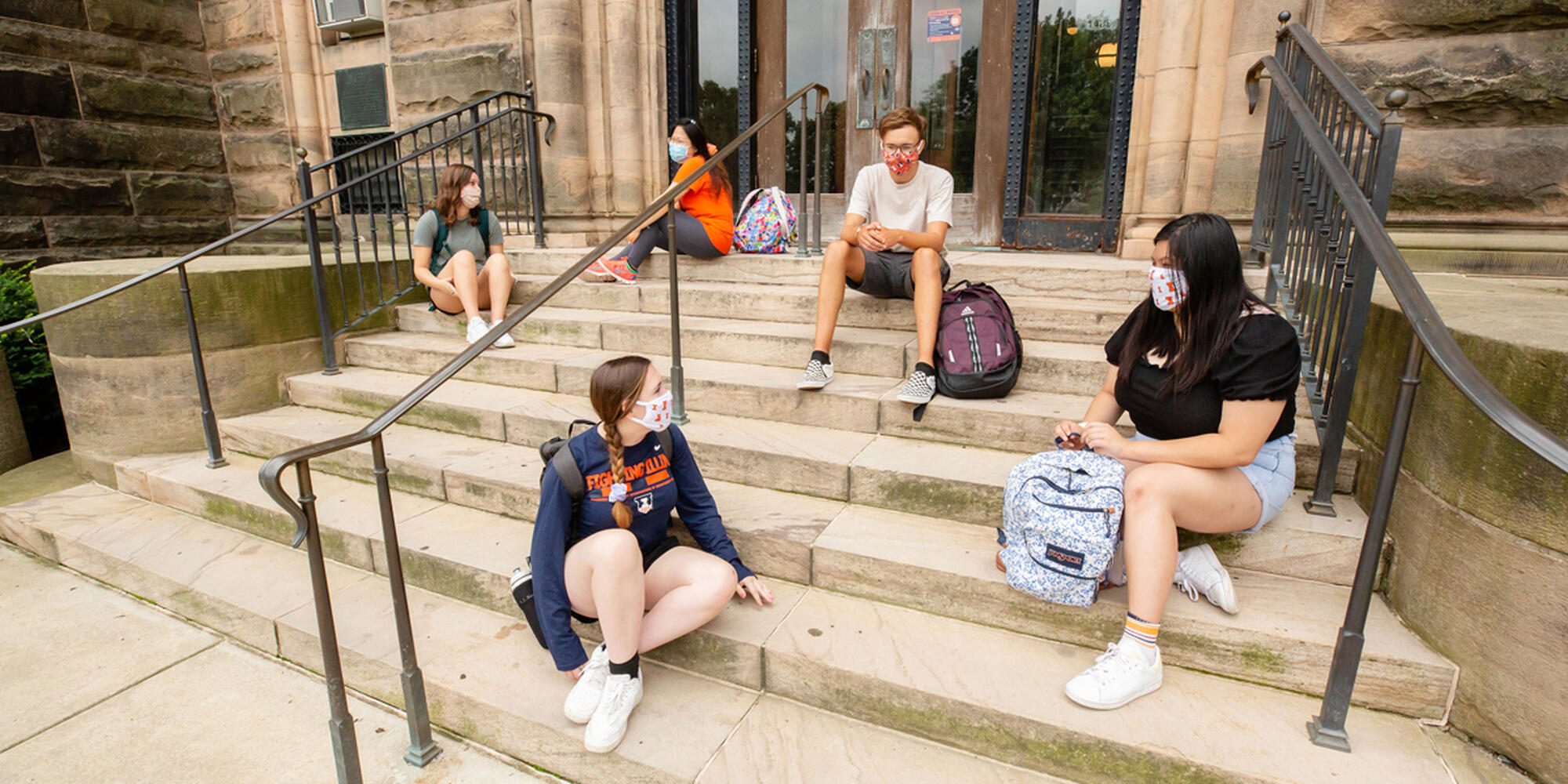 Students socially distanced